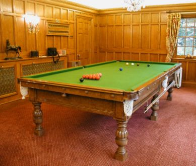(M082) 10ft Burr-Walnut Osbourne Table by Hamilton Billiards