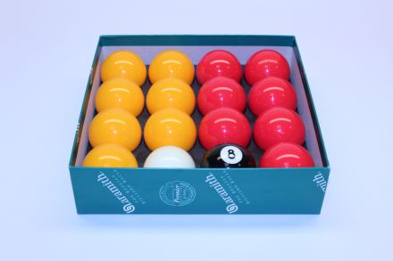 Aramith 2 inch (51mm) 16 Ball League Pool Balls (reds and yellows)