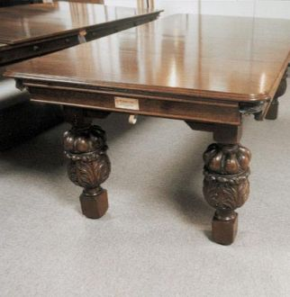 Small Oak Carved Leg Snooker Table (Circa 1920)