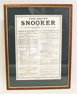 Framed Snooker Rules - Original Reproduction