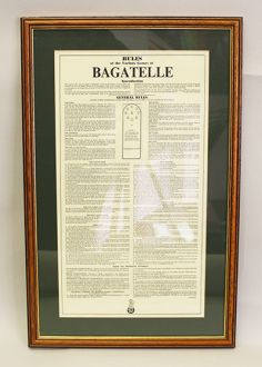 Framed Bagatelle Rules