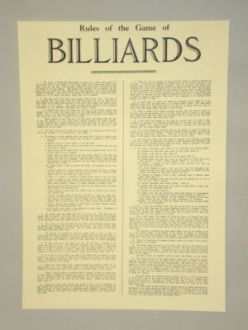 English Billiards Rules - Sheet - Original Reproduction