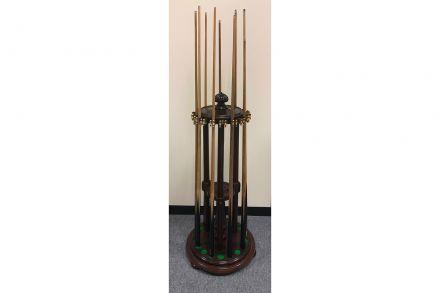 mahogany revolving cue rack