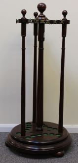 (C64) REVOLVING MAHOGANY CUE RACK HOLDS 18 CUES