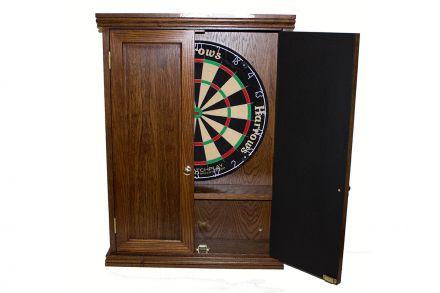 Oak handmade dart board cabinet