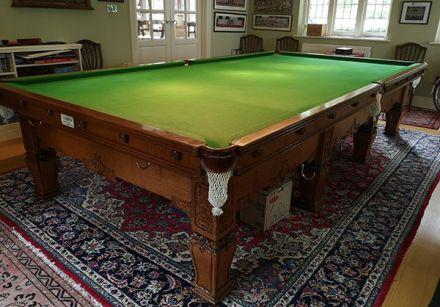 (M1192) Full-Size Oak Square Carved Leg Snooker Table