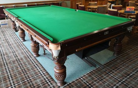 (M1195) Full-Size Mahogany Carved Turned & Fluted Leg Snooker Table by Ashcroft