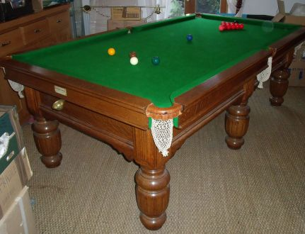 (M1130) 8 ft Oak Turned & Fluted Leg Snooker/Pool Table by Riley