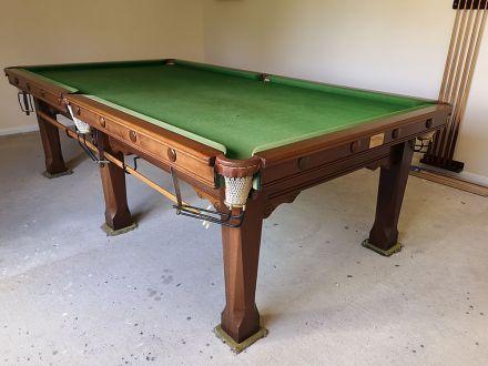 (M1132) 9 ft Mahogany Square Leg Snooker/Pool Table by Karnhem & Hillman