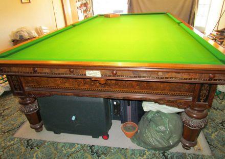 (M1138) Full-Size Burr Walnut Snooker Table