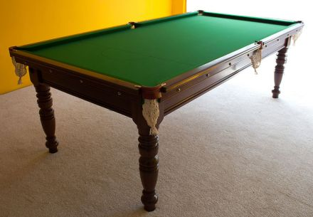 (M1142) 8 ft Mahogany Turned Leg Snooker Table by Riley