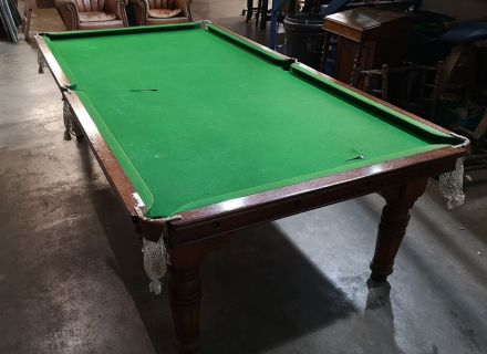 (M1180)  8 ft Oak Turned Leg Convertible Snooker/Pool Dining Table by Riley
