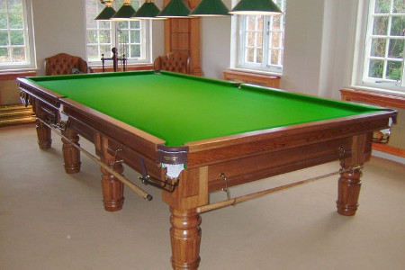 (M1208) 10 ft Mahogany Turned & Fluted Leg Snooker Table