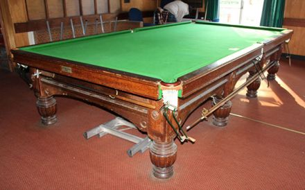 (M1223) Full-Size Mahogany Turned & Reeded Leg Snooker Table by Orme  & Sons