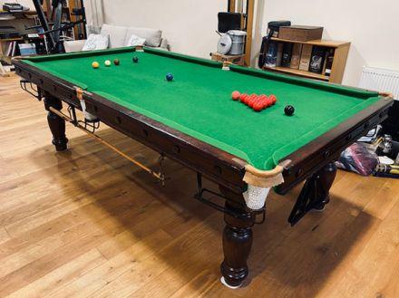 (M1228) 8 ft Mahogany Turned Leg Snooker/Pool Table