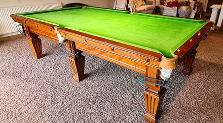 (M1235) 9 ft Mahogany Square Fluted Leg Snooker/Pool Table by Orme & Sons
