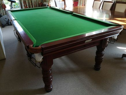 (M1197) 8 ft Mahogany Turned Leg Snooker/Pool Table by Riley
