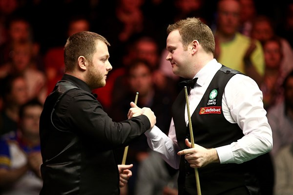 Mark Allen, left, pictured with fellow finalist Shaun Murphy in the final of the 2018 Scottish Open