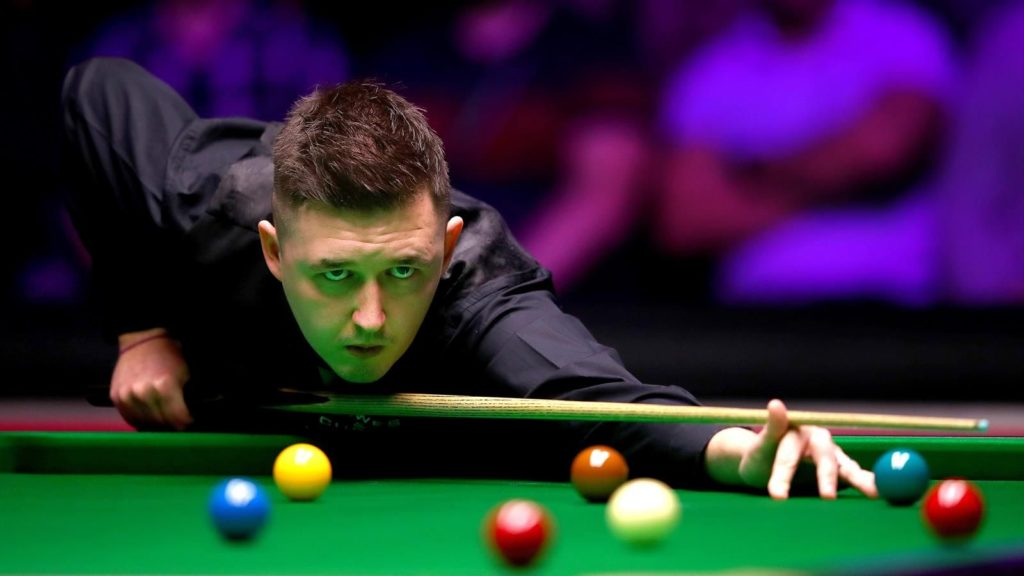 Kyren Wilson is pictured during his 9-7 win in the 2019 German Masters final against David Gilbert