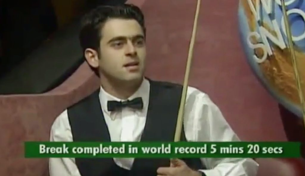 A younger Ronnie O'Sullivan is pictured after breaking the record for the fastest 147 break ever during his 1997 match with Mick Price.