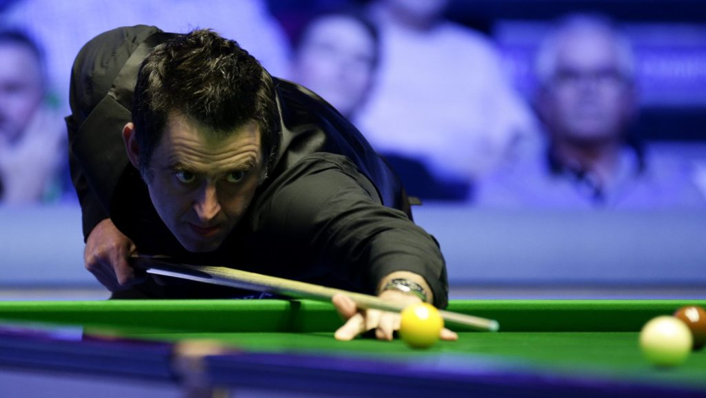 Ronnie O'Sullivan keeps his focus during his 10-4 win against Neil Robertson in the 2019 Players Championship final.