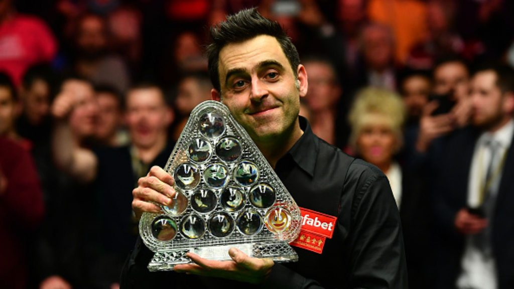 Ronnie O'Sullivan pictured with one of his seven Masters' titles.