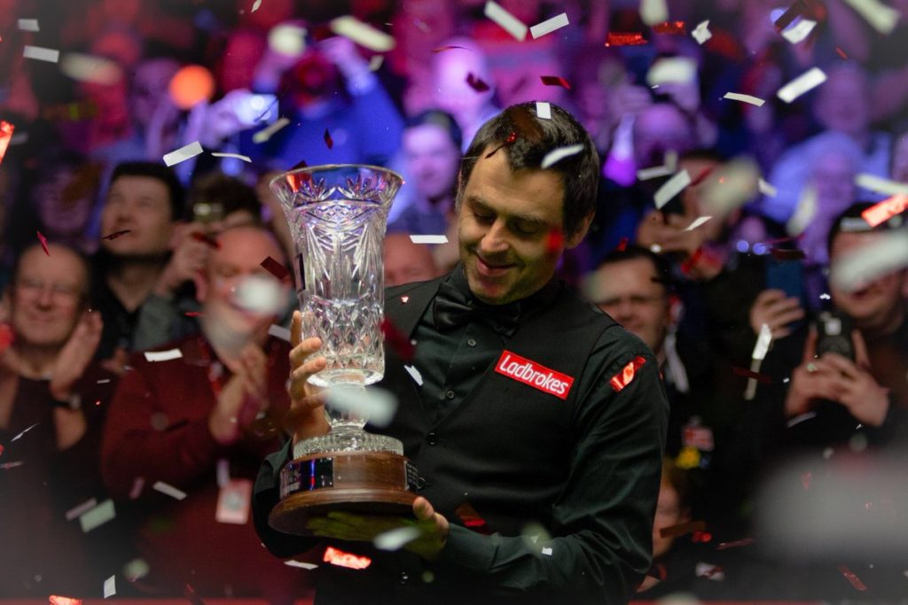 Ronnie O'Sullivan is pictured after lifting the 2019 Players Championship trophy in March.