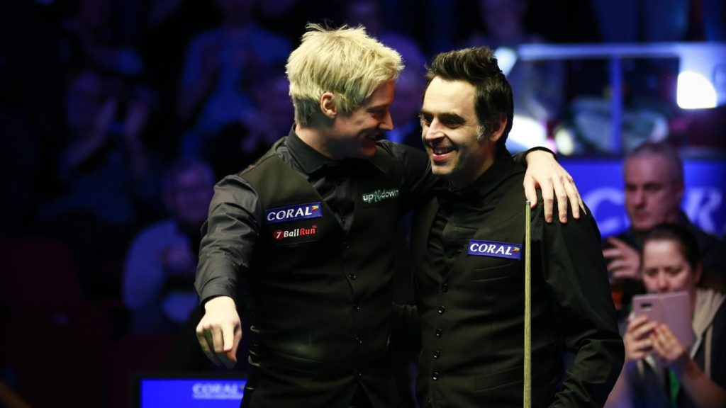 O'Sullivan is pictured with fellow 2019 Players Championship finalist Neil Robertson after defeating the Australian 10-4.