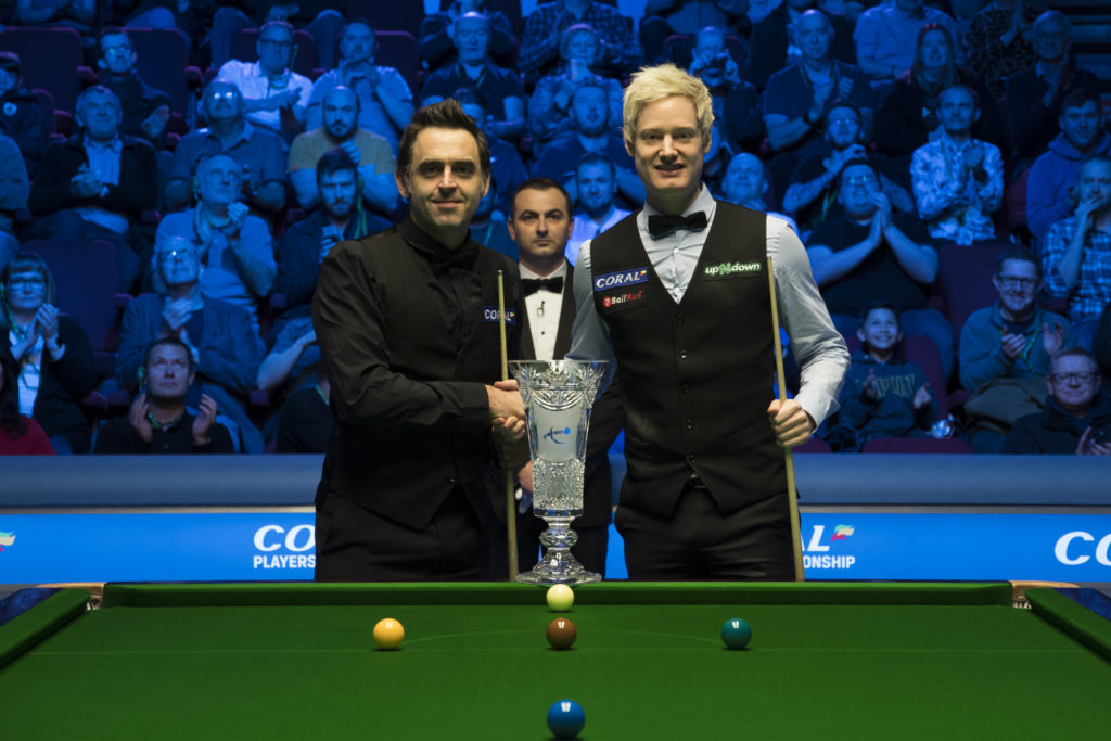 Ronnie O'Sullivan is pictured with Neil Robertson after defeating him 10-4 in the final of the 2019 Players Championship