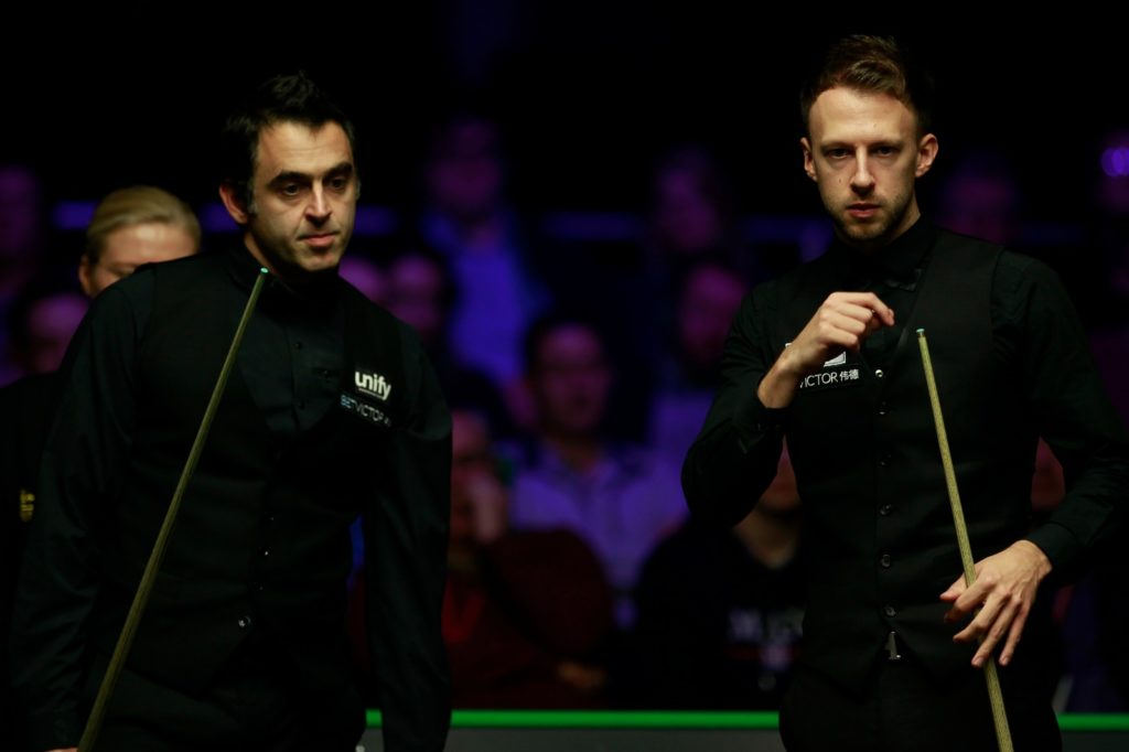 Ronnie O'Sullivan pictured with Judd Trump during their match in the 2018 Northern Ireland Open final.