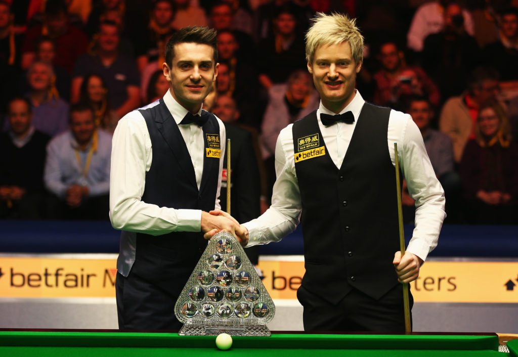 Mark Selby pictured with Neil Robertson at the Masters in 2013 - the pair face off in the quarter-finals of this years' Tour Championship.