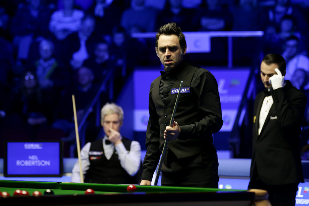 Neil Robertson watches on during his 10-4 defeat to Ronnie O'Sullivan in the 2019 Players Championship final