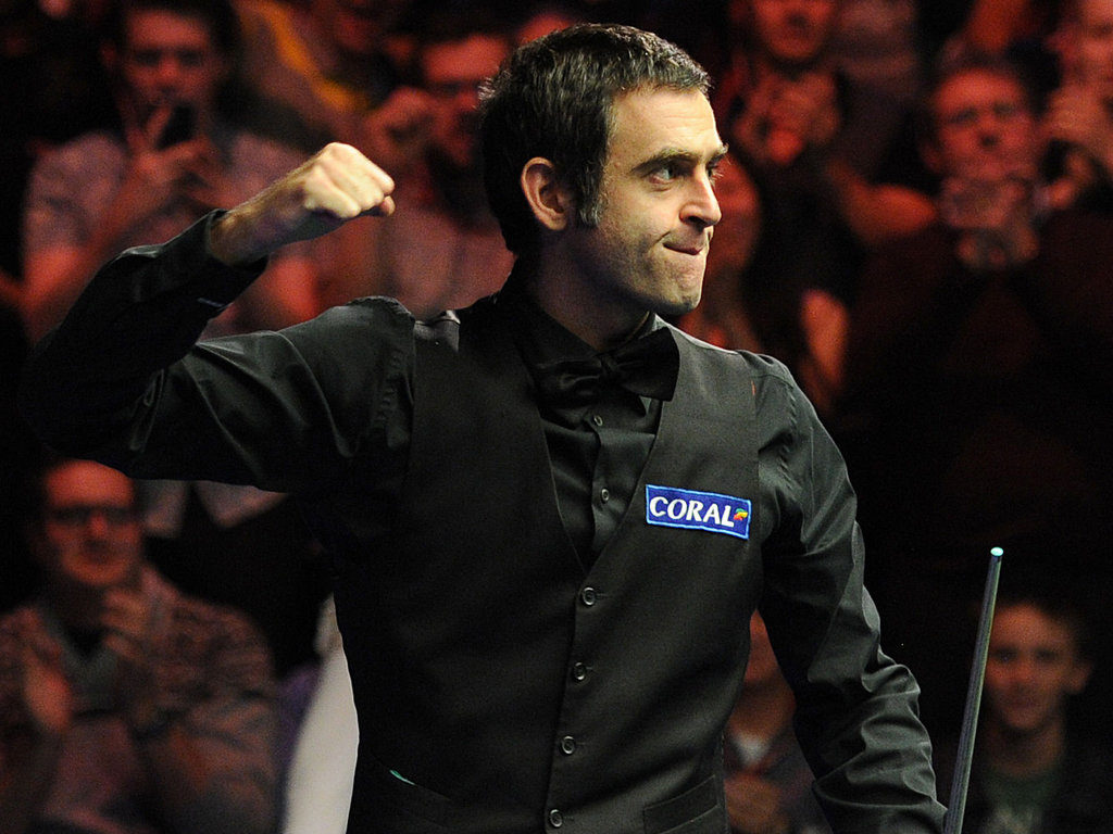 Ronnie O'Sullivan celebrates during his 10-4 Players Championship final win over Neil Robertson