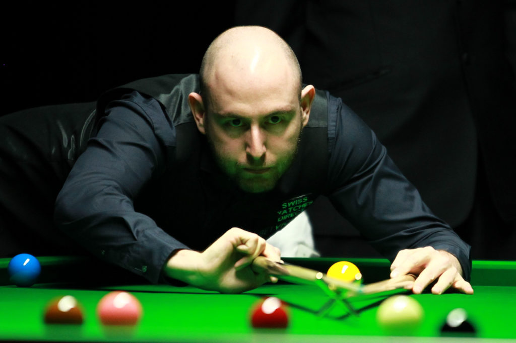 Matthew Selt is pictured during his 5-3 win in the 2019 Indian Open final against Lyu Haotian