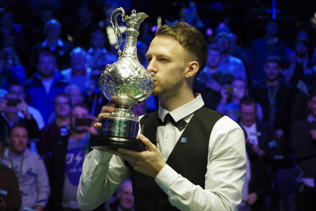 Judd Trump pictured after defeating Ali Carter in the final of the World Grand Prix in February.