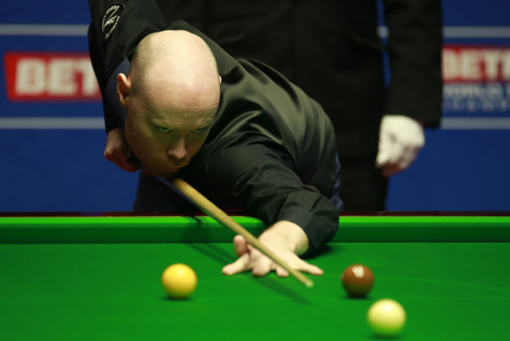 Gary Wilson has his eyes on the prize during his 13-10 win over former world number one Mark Selby.